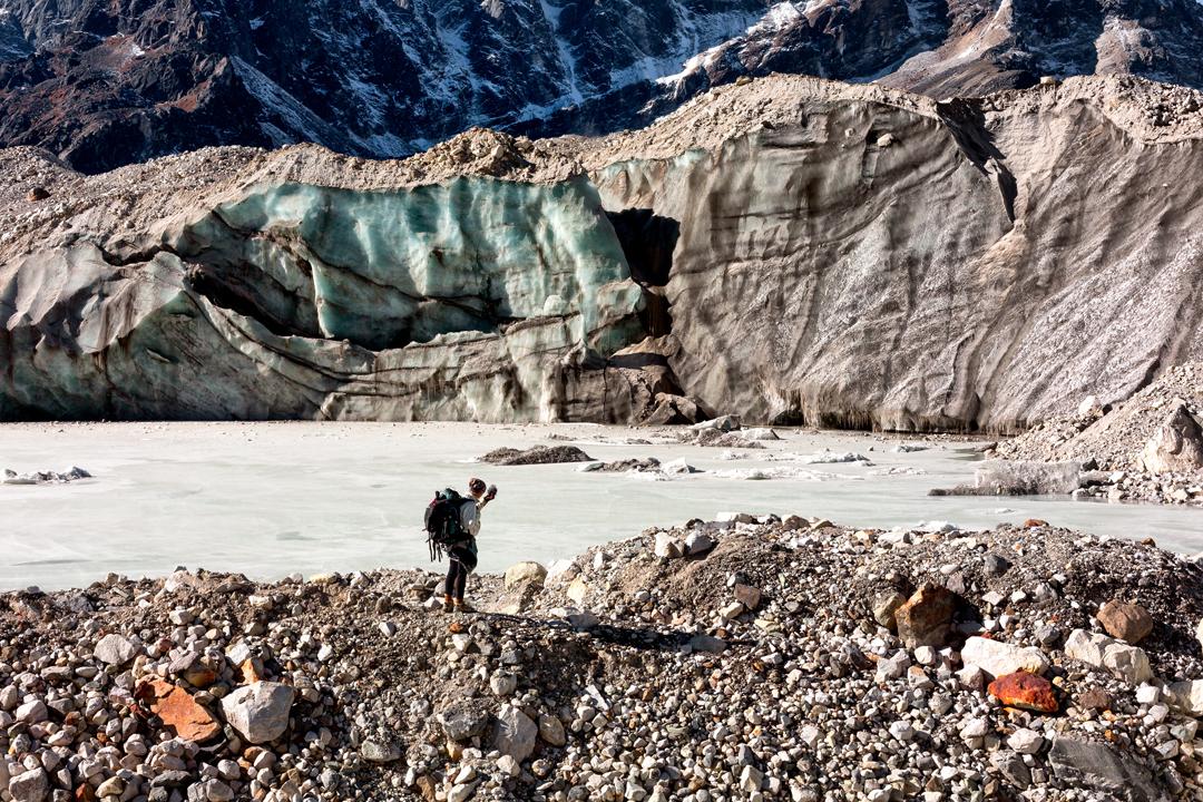 Cora Rose recording the sounds of Khumbu Glacier, Himalayas, Nepal