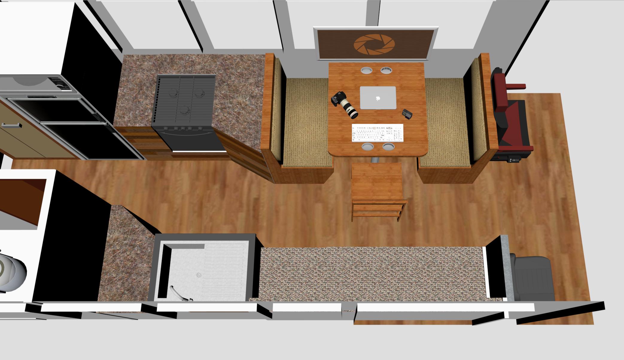 School Bus Skoolie Kitchen Floor Plan