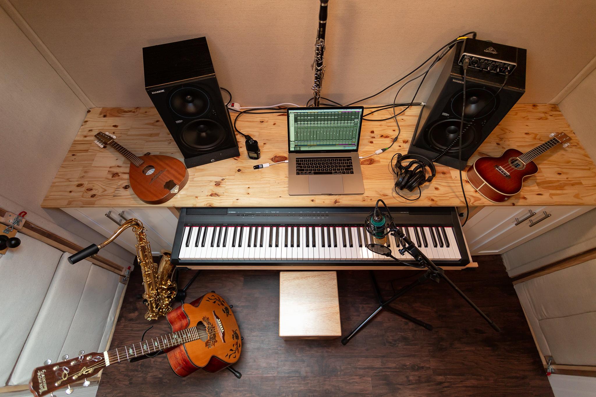 school bus tiny house recording studio