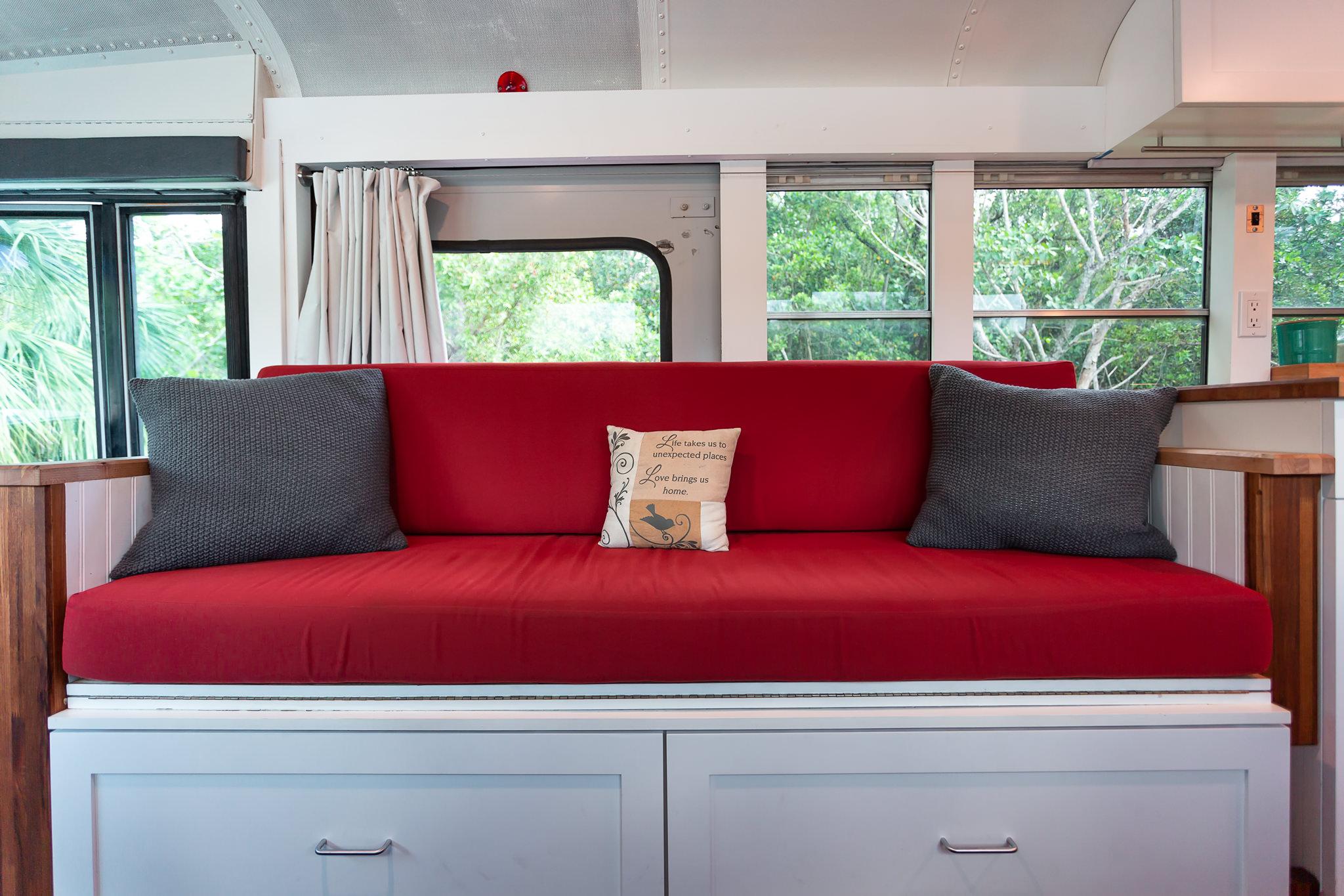 school bus tiny house custom sofa cushions