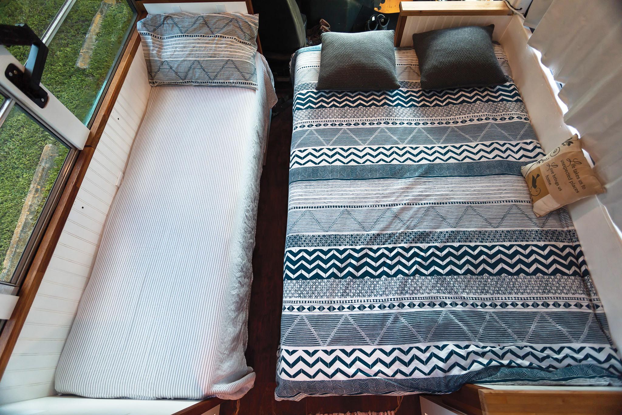 school bus tiny house beds