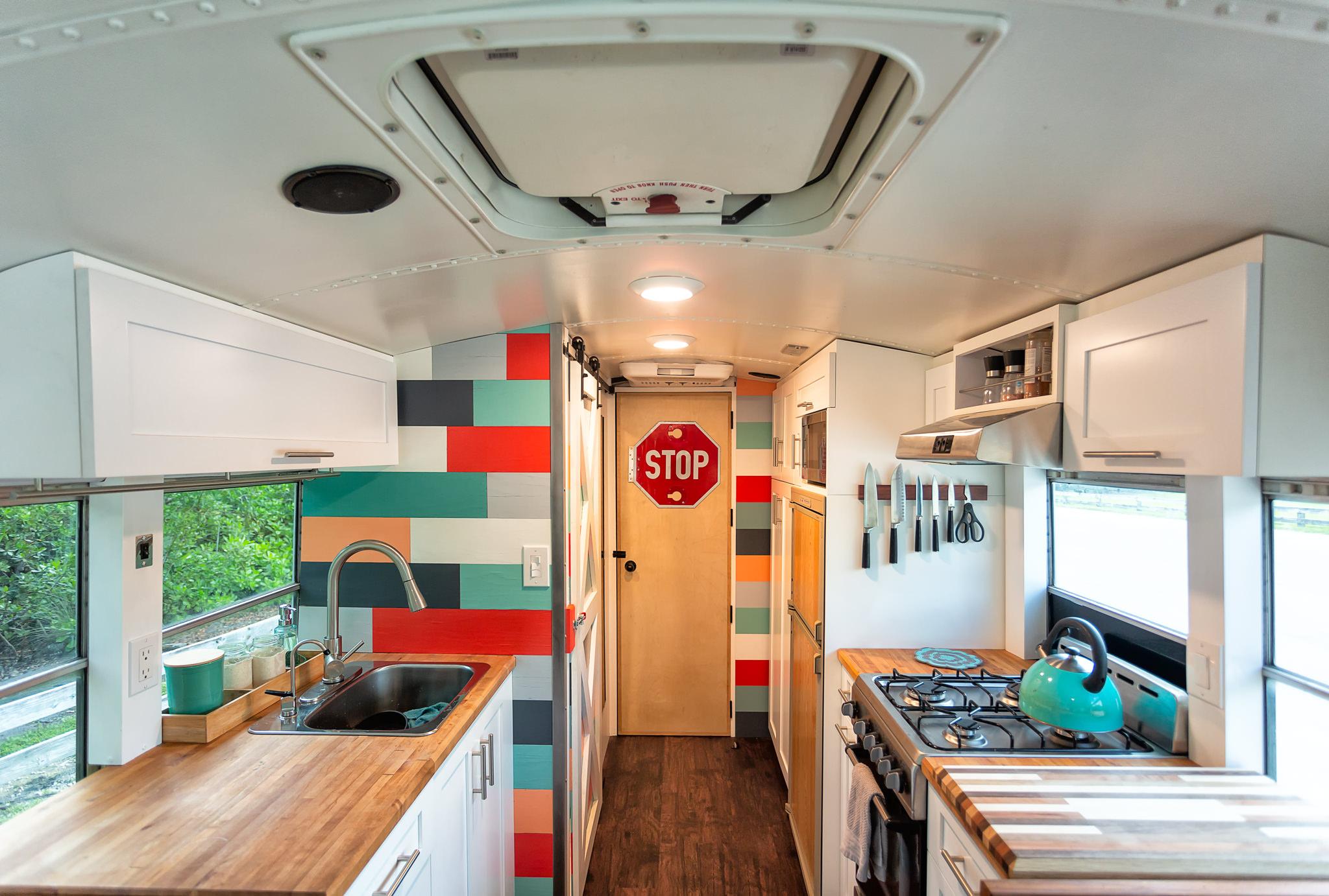 school bus tiny house kitchen