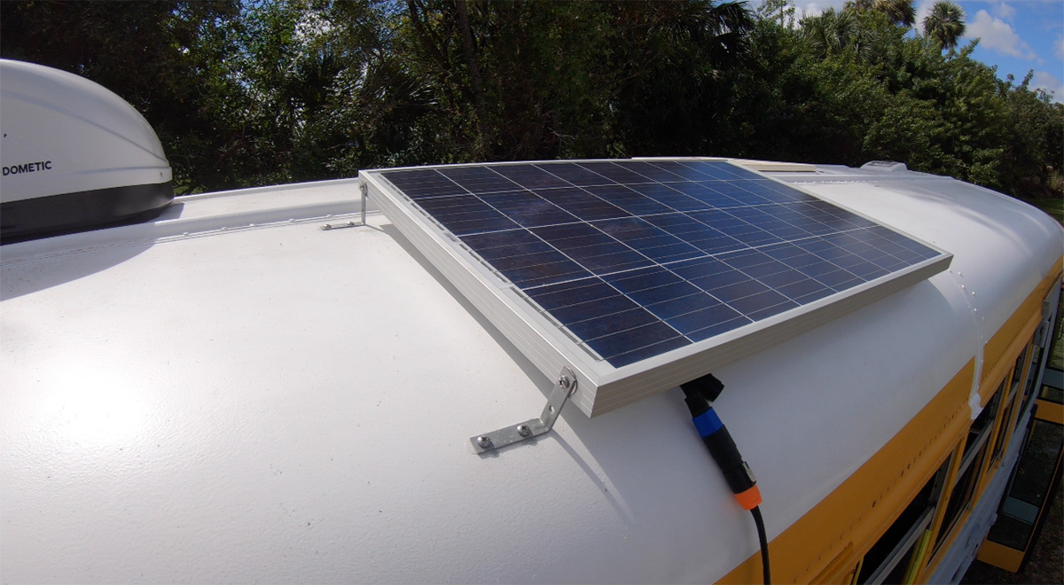 solar panel install on a skoolie bus conversion